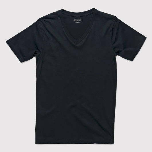 littlebit Basic Black V-Neck T-Shirt in Black