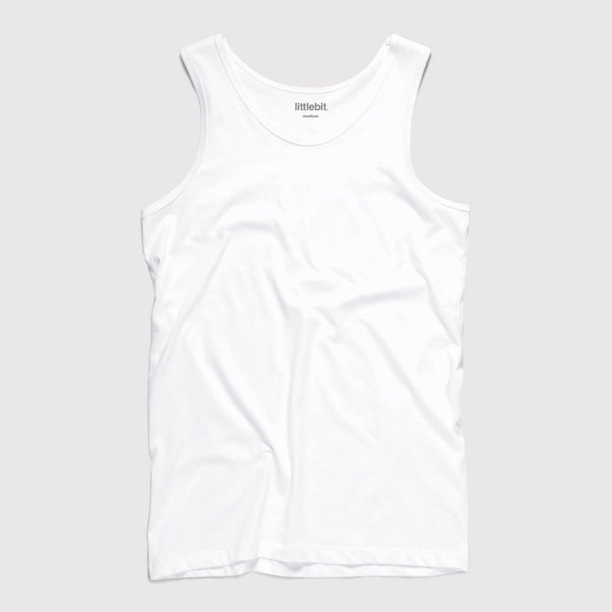Mens Low Cut Tank Singlet White