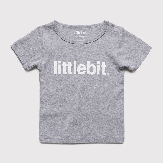 littlebit Logo Grey Marle Baby T-Shirt - Front View