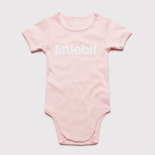 littlebit Logo Pink Baby Jumpsuit Onesy - Front View