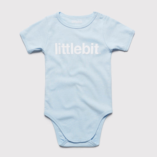 littlebit Logo Baby Blue Baby Jumpsuit Onesy - Front View