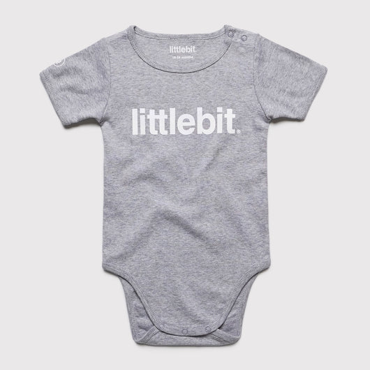 littlebit Logo Grey Marle Baby Jumpsuit Onesy - Front View