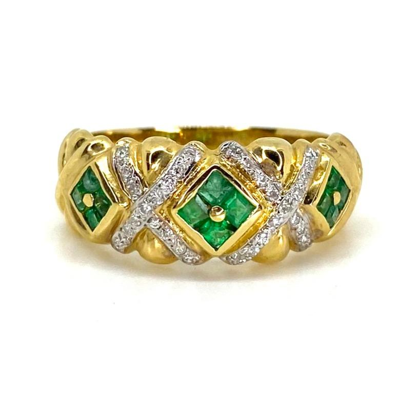 Vintage Le Vian 18K Yellow Gold Emerald and Diamond Ring