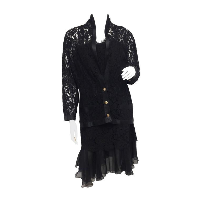 CHANEL Black Lace, Silk and Chiffon Strapless Hourglass Cocktail Dress Set