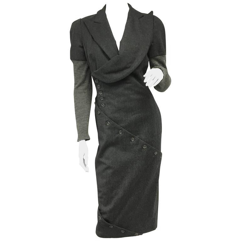 Vintage Alexander Mcqueen Gray Wool Button Dress - HIGHKARAT d8f8645ee