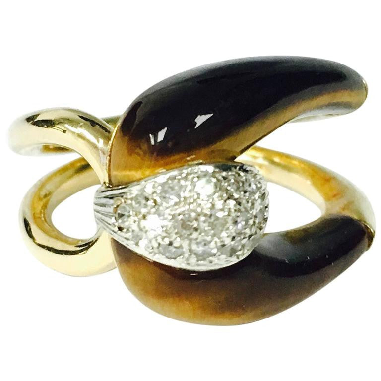 Tiger's Eye Diamond Gold Buckle Ring