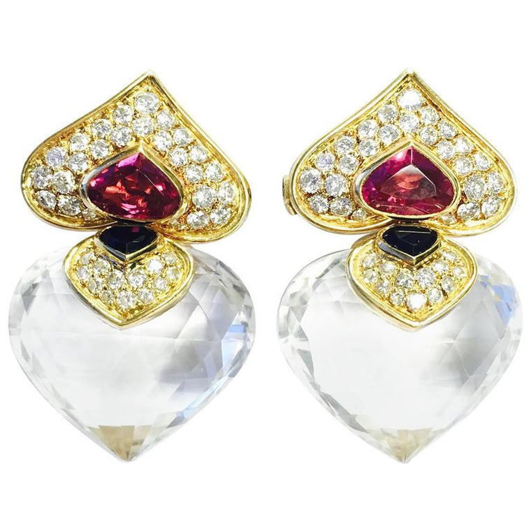 Marina B. Pivomab 1982 Diamond Tourmaline Rock Crystal Earrings