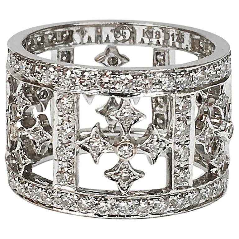 Lauren K Diamond 18K White Gold Maltese Cross Wide Eternity Band Ring