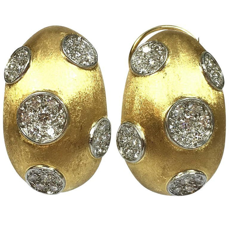 Hammerman Brothers Large Diamond 18K Yellow Gold & Platinum Earrings