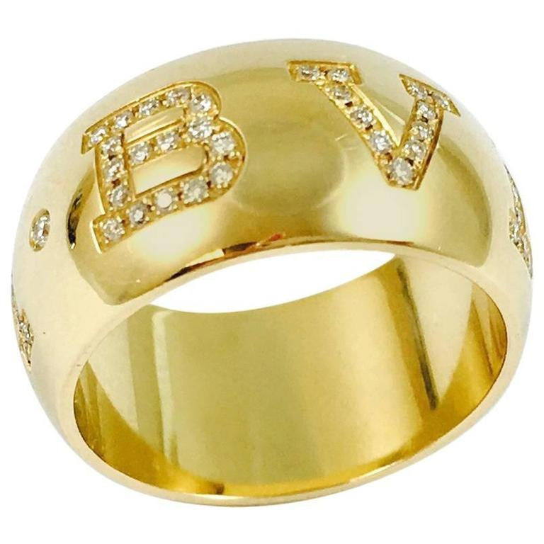 Bulgari Monologo Diamond 18K Yellow Gold Band Ring HIGHKARAT