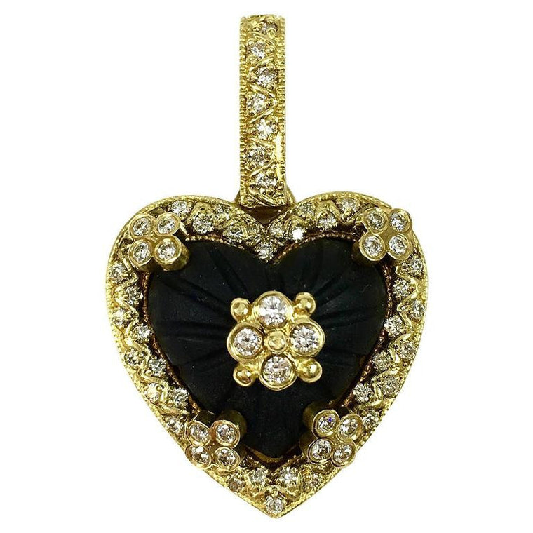 Stambolian Frosted Onyx & Diamond 18K Gold Heart Enhancer