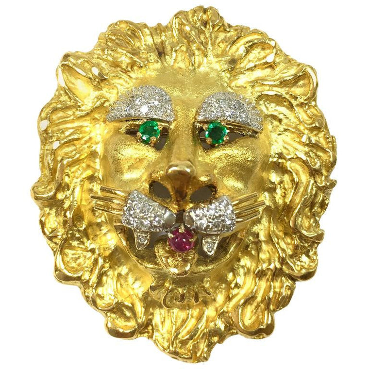 Hammerman Brothers Emerald Ruby & Diamond 18K Gold Lion Pendant Brooch