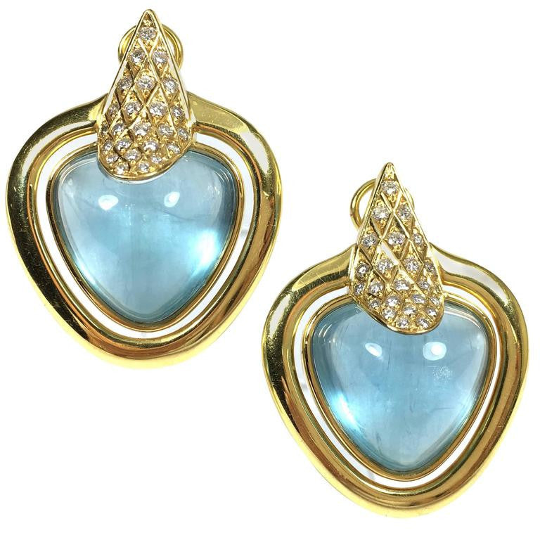 Large Aquamarine & Diamond 18K Gold Earrings
