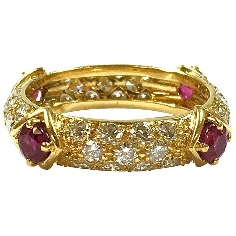 Mauboussin Diamond & Ruby 18K Yellow Gold Eternity Band