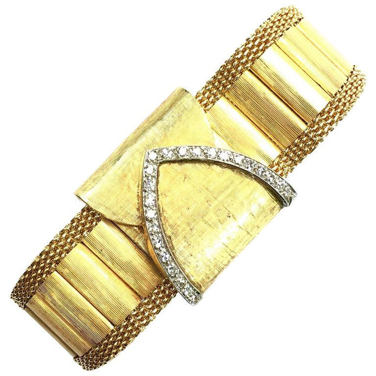 Large Diamond & 14K Gold Covered Face Bracelet Watch