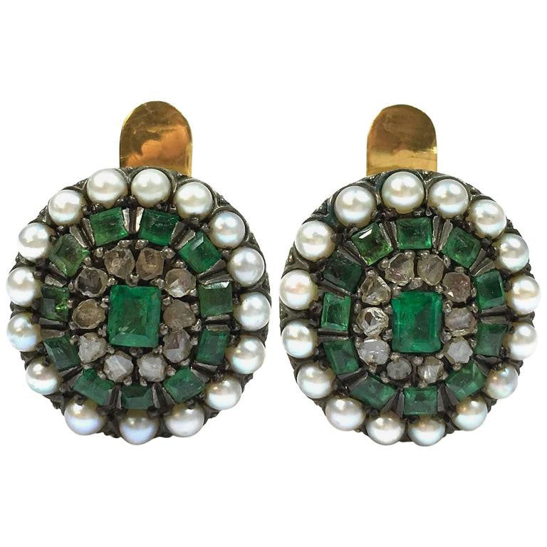 Antique Emerald, Pearl & Rose Cut Diamonds Silver and Gold Earrings