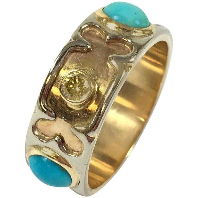 Unique Turquoise & Diamond 14K Gold Band Ring