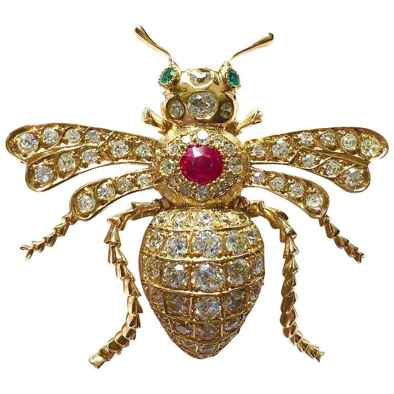 Antique Diamond Ruby Emerald Gold Bee Pin