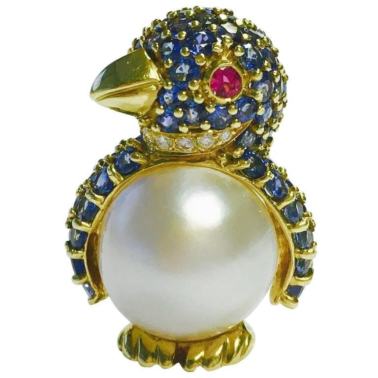 Jean Vitau Gemstone 18K Gold Penguin Brooch