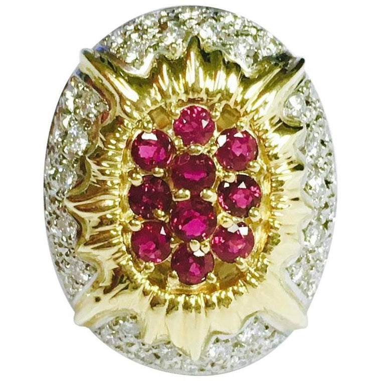 Ruby & Diamond Yellow Gold and Platinum Sunburst Ring