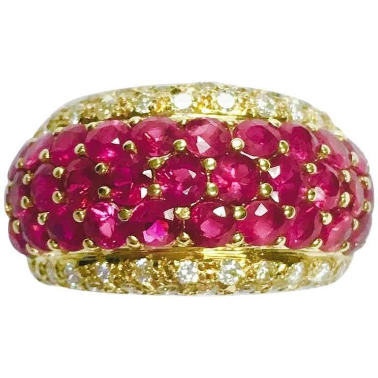 Ruby & Diamond 18K Yellow Gold Wide Domed Band Ring