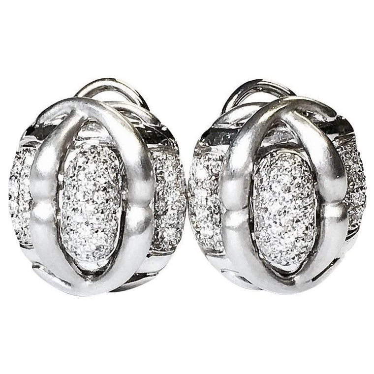 Leva Pave Diamond Satin Finish 18K White Gold Earrings