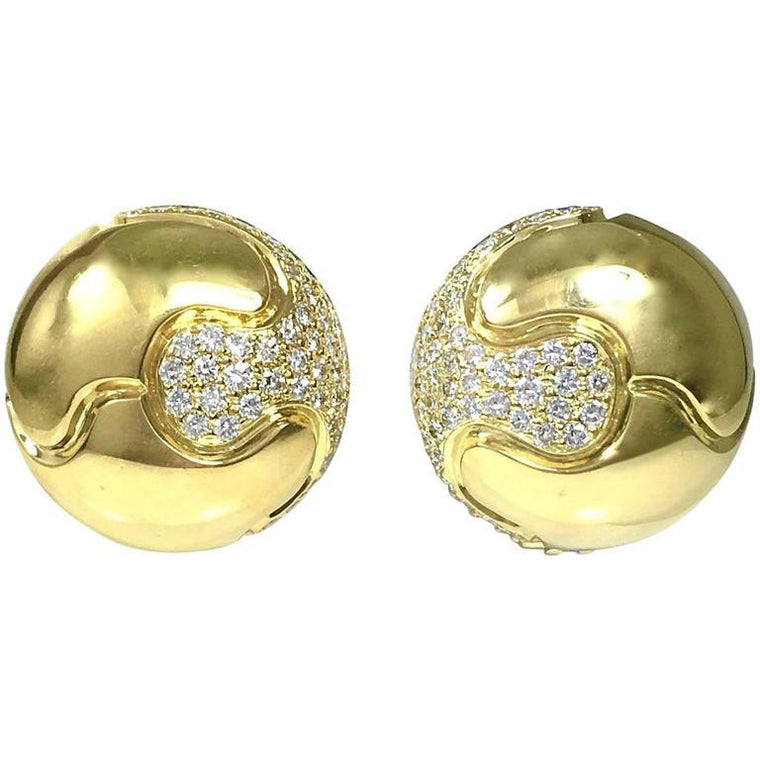Large 3 Carats of Diamonds 18K Yellow Gold Dome Earrings