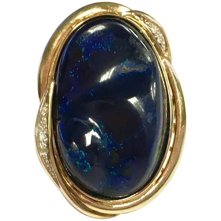 Azure Malachite Diamond Gold Cocktail Ring