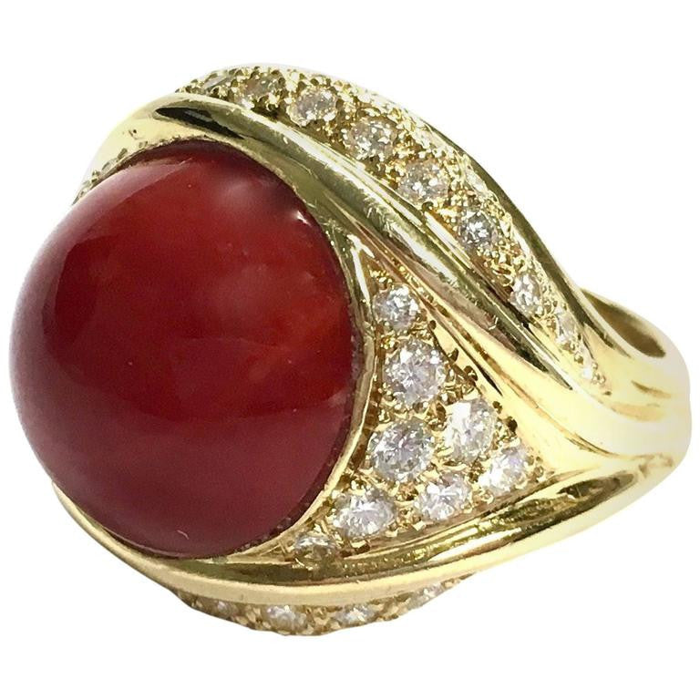 Large Coral and Diamond 18K Yellow Gold Ring