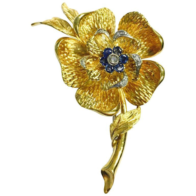 Italian Sapphire Diamond 18K Gold Large Flower Brooch