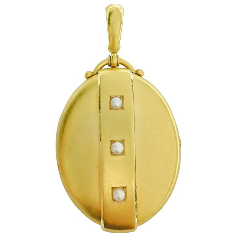 Victorian Pearl and Gold Large Locket Pendant