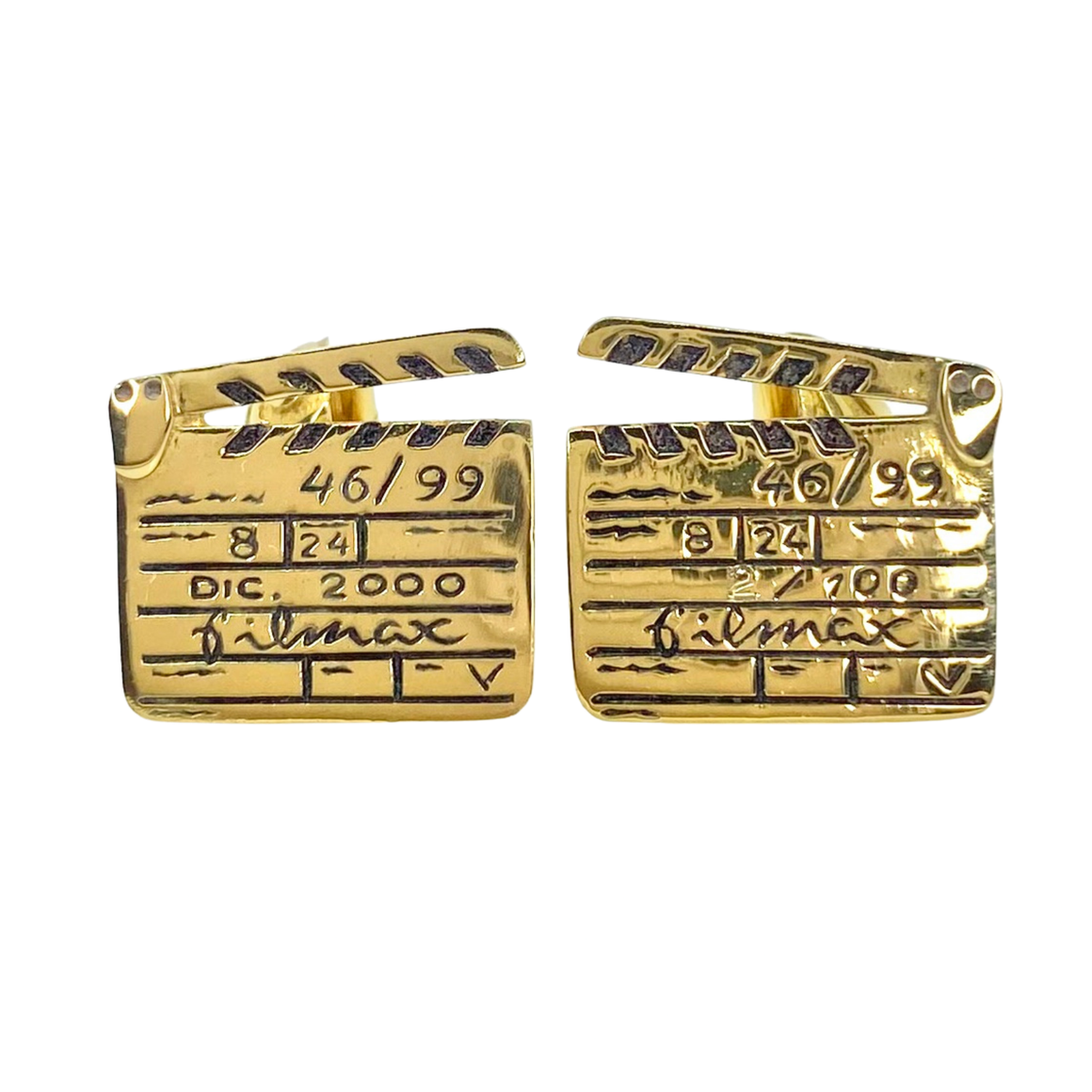 Vintage Filmax 18K Yellow Gold Directors Cut Cufflinks Limited Edition