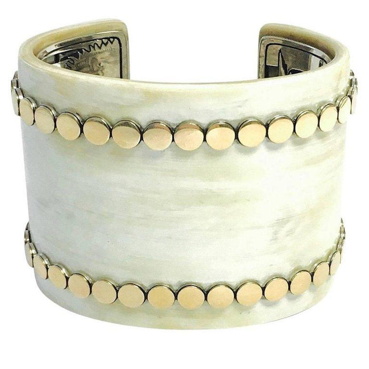 John Hardy Dot Buffalo Horn Yellow Gold and Sterling Silver Wide Cuff Bracelet