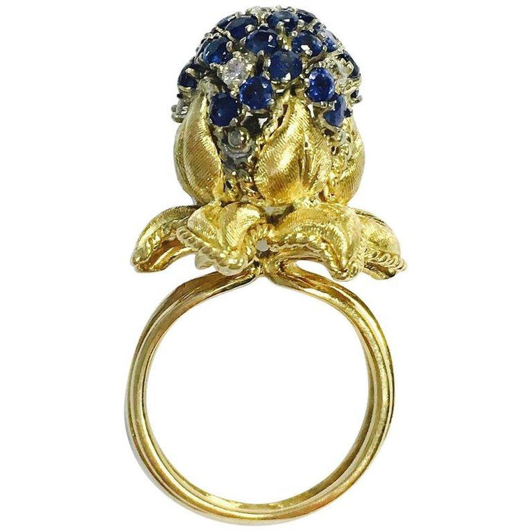 Vintage Dragon Flower Blue Sapphire and Diamond Yellow Gold Ring