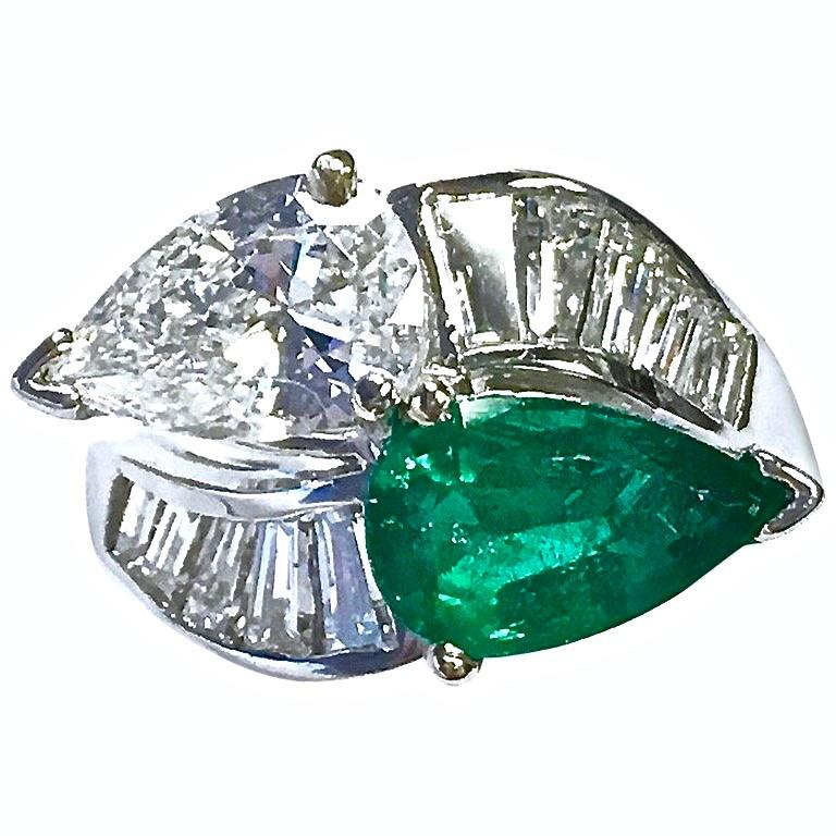GIA 1.38ct Diamond & 1.72ct Emerald Toi Et Moi Platinum Ring