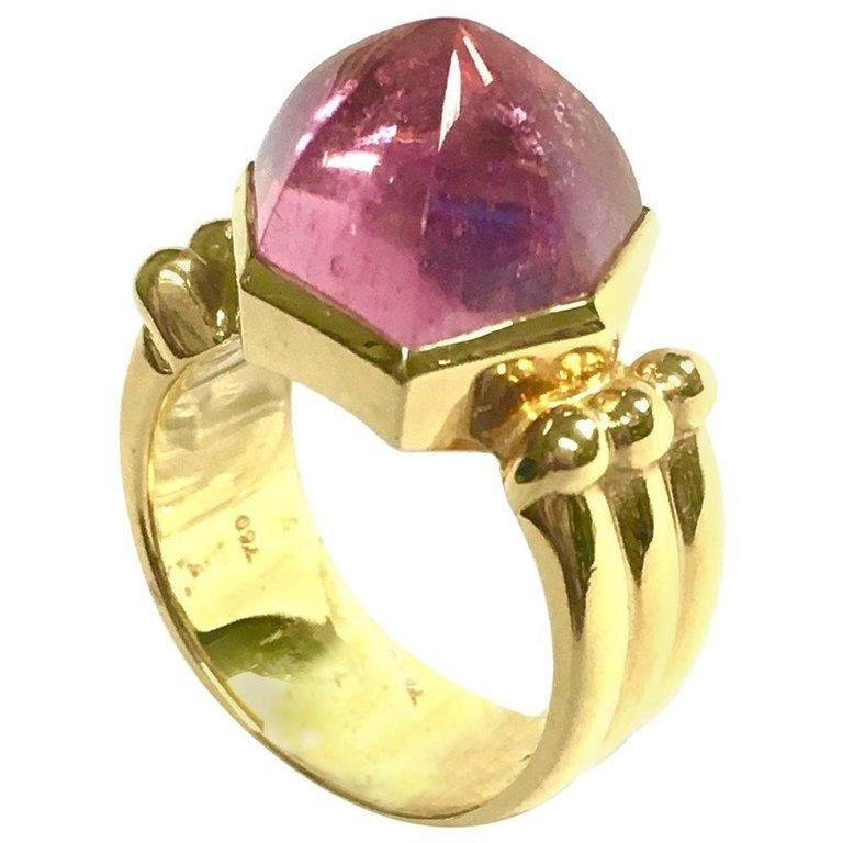 Ming's 18K Yellow Gold Pink Tourmaline Cabochon Ring