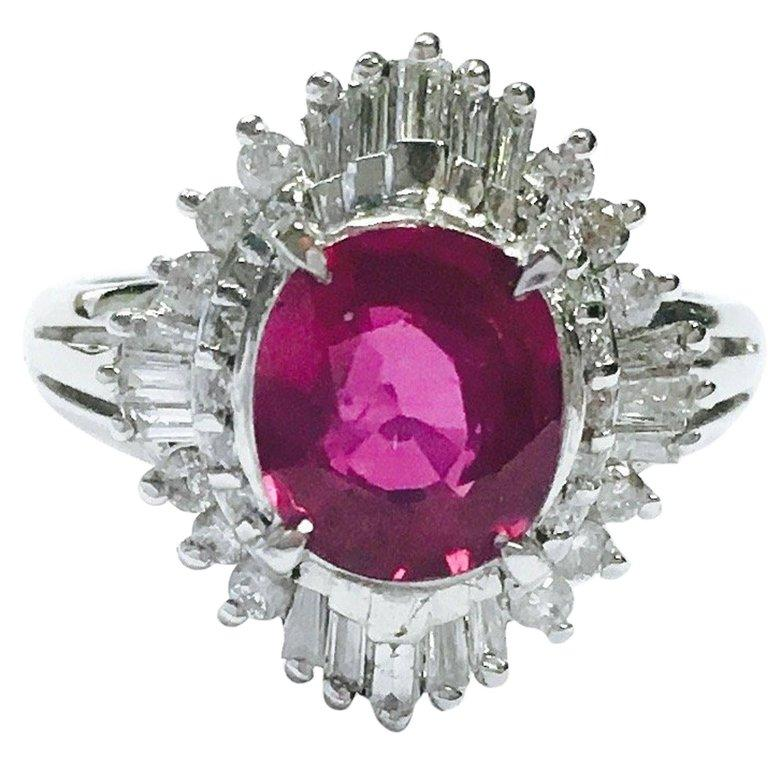 GIA 2.03 Carat No Heat Ruby and Diamond Ballerina Style Platinum Ring