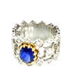 Sapphire & Diamond Platinum 18K Gold Wide Band Ring