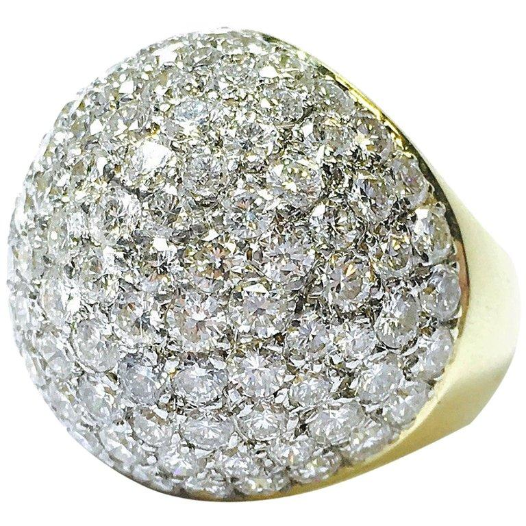 Midcentury 9 Carats of Diamonds Large Bombe Dome Ring