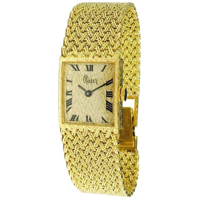 Ruser 18K Yellow Gold Vintage Mesh Wristwatch