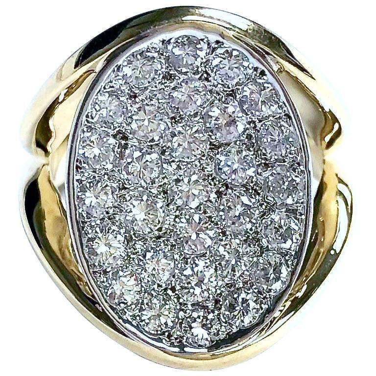 1.8 Carats of Diamonds Pave Diamond Cocktail 18K Gold Ring