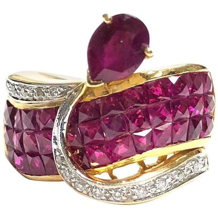 Invisible Set Ruby and Diamond 18K Yellow Gold Ring