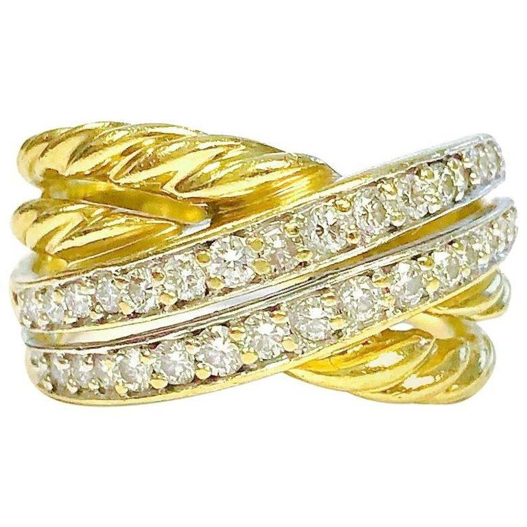 David Yurman Diamond 18K Yellow Gold Crossover Band Ring HIGHKARAT