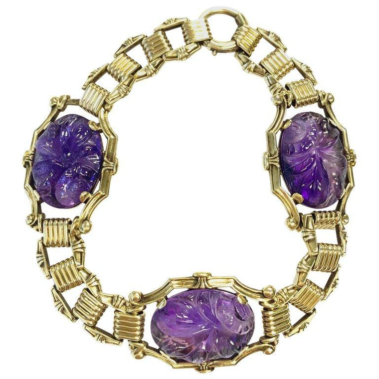 Antique Carved Amethyst 14K Yellow Gold Bracelet