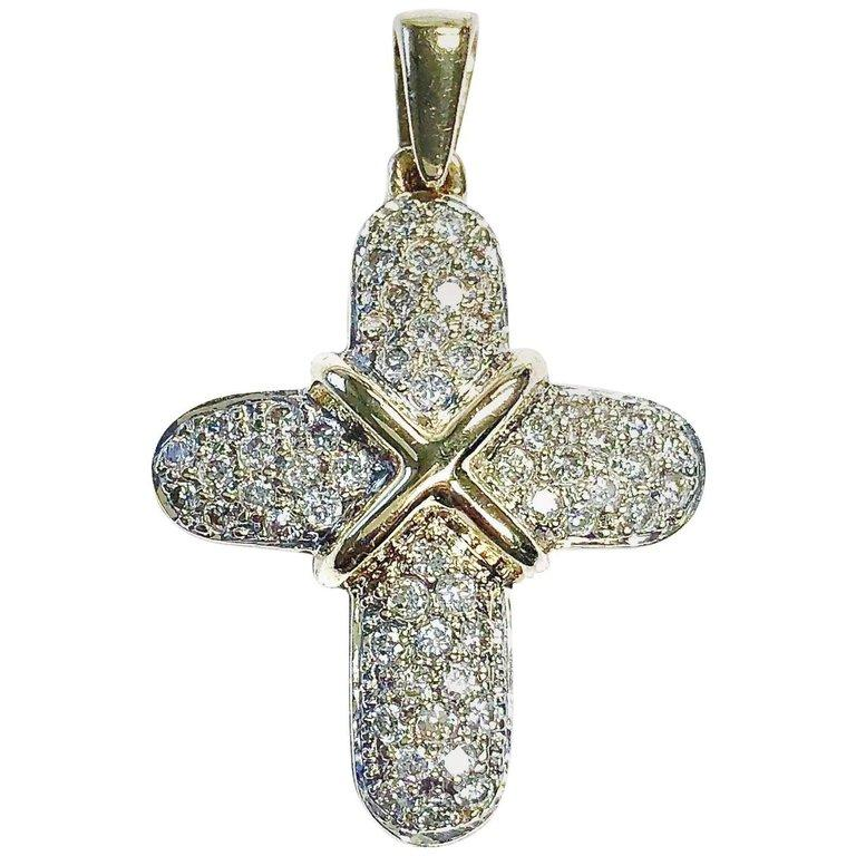 Pave set diamond gold cross pendant necklace highkarat pave set diamond gold cross pendant necklace aloadofball Choice Image