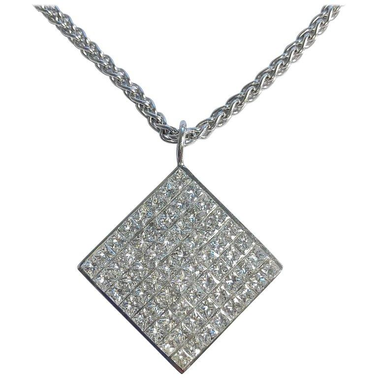 5 Carats of Diamonds Invisible Set 18K White Gold Pendant Necklace