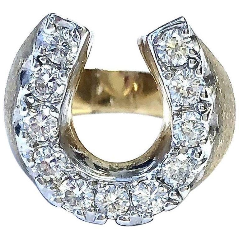 Vintage 1.21ct Diamond Large Horse Shoe Gold Ring