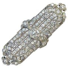 Art Deco Platinum 5.3 Carats of Diamonds Pin