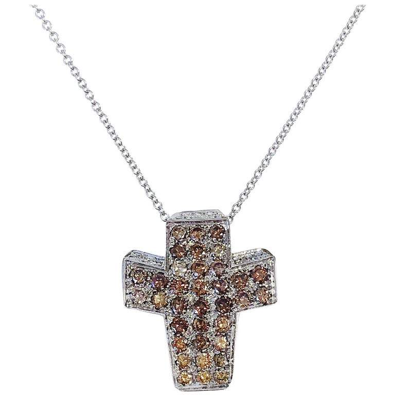 Andreoli Multi-Color Diamond Cross Pendant Necklace