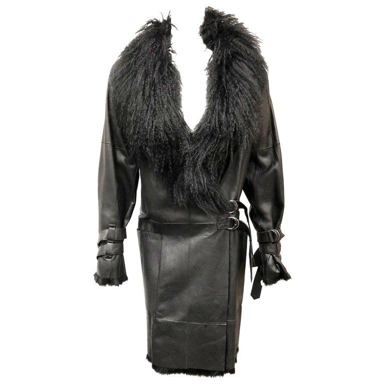 Plein Sud Black Leather and Fur Coat, Size 38